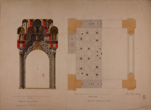 Planta y ventana de la sala de los Reyes de la Alhambra