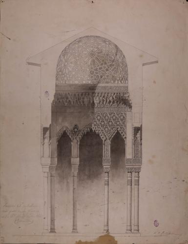Palacio de la Alhambra (Granada). Sección del pabellón del Patio de los Leones.