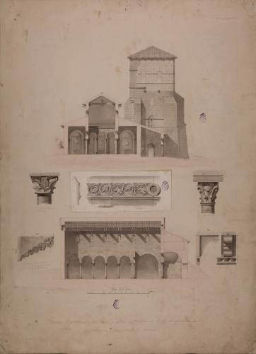 Sección longitudinal y transversal y detallas de capiteles, modillones y friso decorativo de la iglesia de San Miguel de la Escalada (Gradefes, León)
