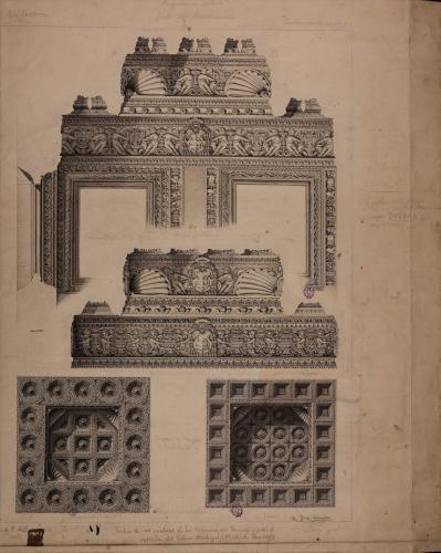 Sección vertical y proyección de los techos de los torreones del palacio arzobispal de Alcalá de Henares (Madrid)