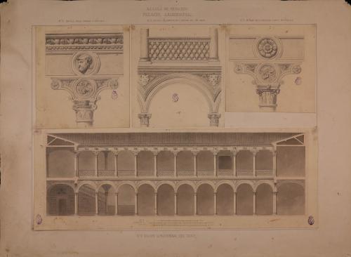 Palacio arzobispal de Alcalá de Henares (Madrid). Detalles del antepcho y arcada del cuerpo bajo.