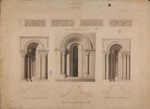 Catedral Vieja de Salamanca. Detalle de tres vanos.