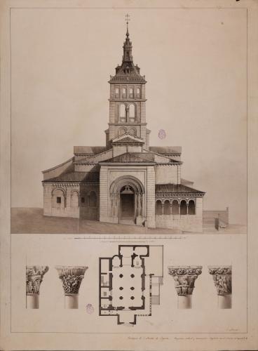 Planta y alzado de la fachada principal y capiteles de la iglesia de San Martín (Segovia)
