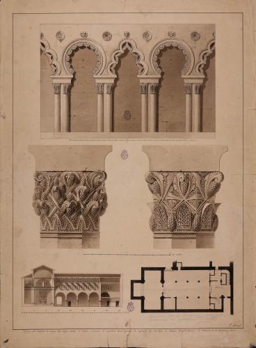 Planta, sección y detalles de los capiteles y arcos de la iglesia del convento de Corpus Christi (Segovia)