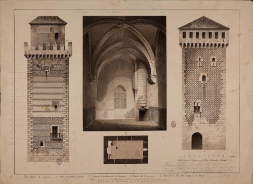 Alzado de la torre de los Arias Dávila, planta y vista del interior de la torre del convento de Santo Domingo y alzado de la torre de Lozoya