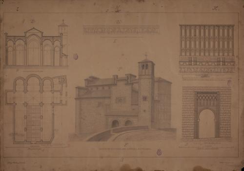Iglesia de Santiago del Arrabal (Toledo). Planta, fachada sur y detalles.