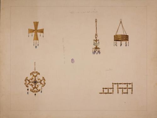 Tesoro de Guarrazar (Toledo). Corona, cruces, colgante y detalle.