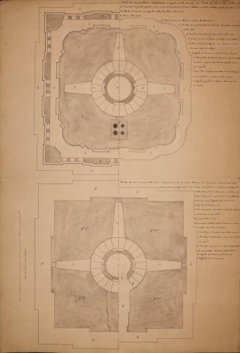 Planta del primer y segundo cuerpos  de la torre de la Seo de Zaragoza