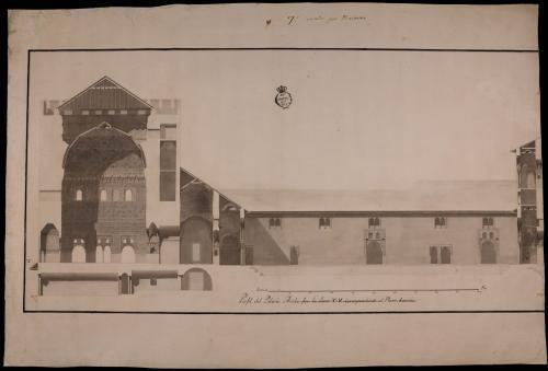Sección longitudinal del palacio de Comares de la Alhambra