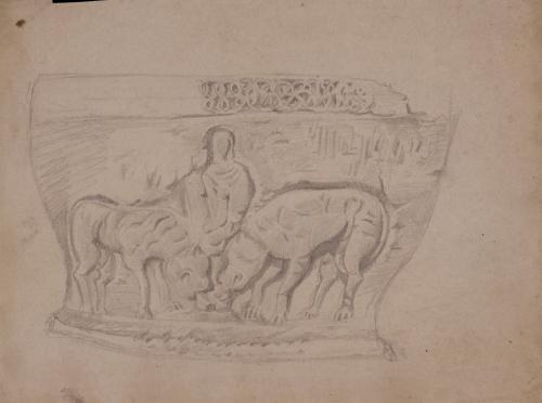 Pila bautismal románica de inmersión con la escena de Daniel en el foso de los Leones en la colegiata de Santa Juliana (Santillana del Mar)