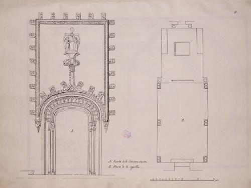 Planta y alzado de la puerta de la Cámara Santa de la catedral de Oviedo