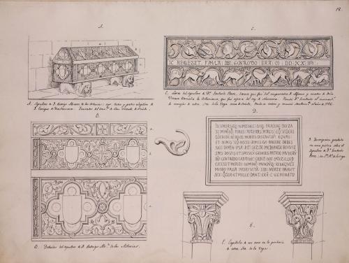 Sepulcro de Rodrigo ÁLvarez de las Asturias, lauda sepulcral  e inscripción funeraria de Doña Gontrodo Pérez y dos capiteles románicos
