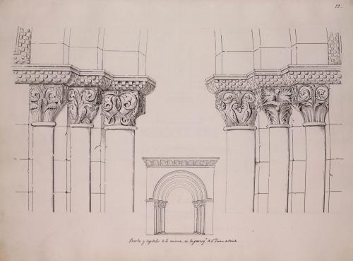 Alzado de la portada y detalle de los capiteles de la iglesia de San Juan el Real de Oviedo