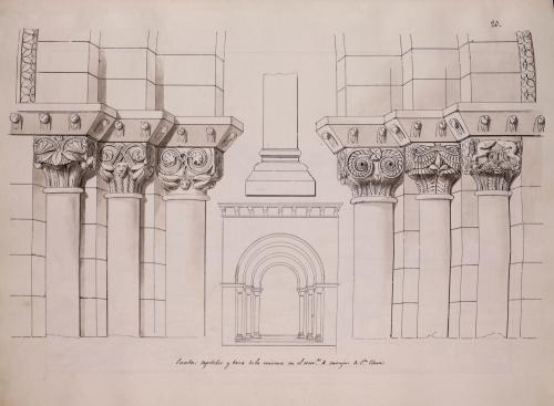 Alzado de la portada y detalles de la basa y capiteles de la iglesia del convento de Santa Clara de Oviedo