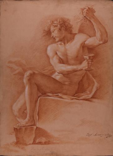 Estudio de modelo masculino desnudo como Baco