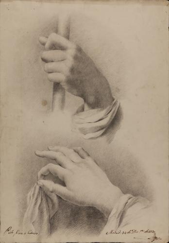 Estudio de mano sujetando un cayado y otra un paño