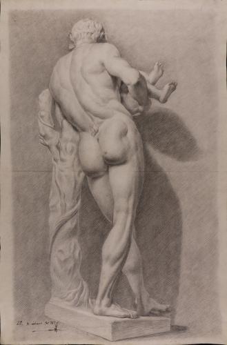 Estudio de la parte trasera de la escultura Sileno con Dionisos niño