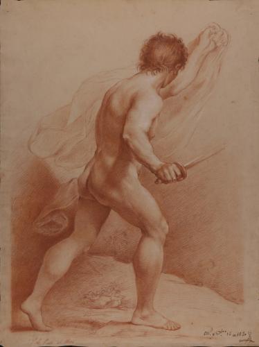 Estudio de modelo masculino desnudo de espaldas portando paño y espada