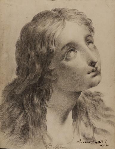 Estudio de cabeza femenina hacia la derecha mirando hacia arriba