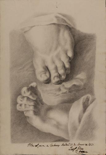 Estudio de pie izquierdo de frente y de perfil con ropaje
