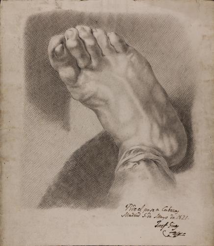 Estudio de pie derecho en escorzo