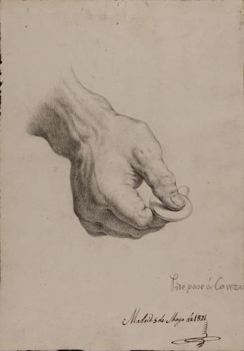 Estudio de mano sujetando con dos dedos una moneda