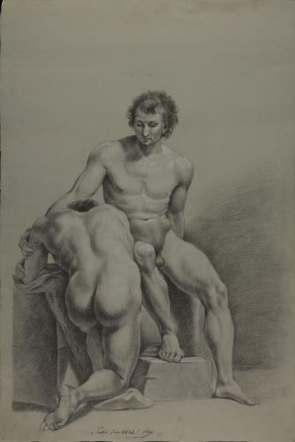 Estudio de dos modelos masculinos desnudos, uno sentado y otro arrodillado
