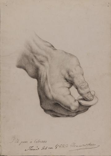 Estudio de mano sujetando una moneda