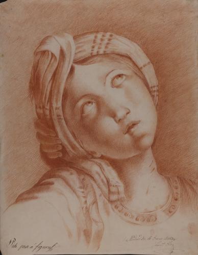 Estudio de la cabeza de Santa Cecilia del Domenichino