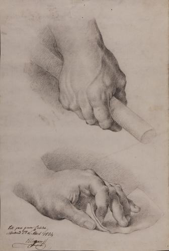 Estudio de mano derecha con bengala e izquierda con papel