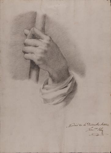 Estudio de mano con ropaje sujetando un bastón