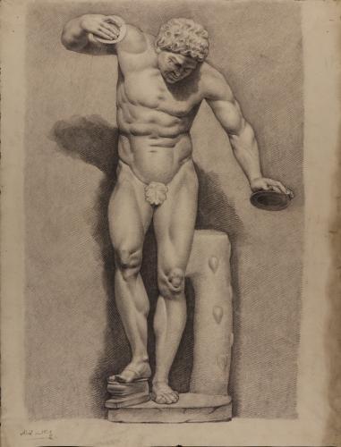Estudio frontal de la escultura del Sátiro danzante