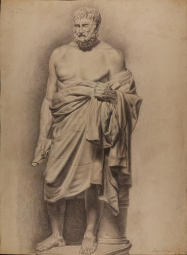 Estudio de la escultura del filósofo estoico (llamado Zenón)