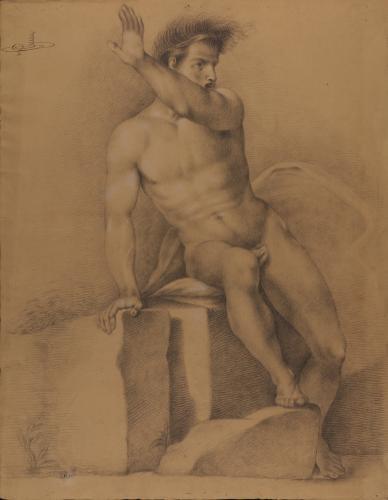 Estudio de modelo masculino desnudo sentado alzando el brazo izquierdo