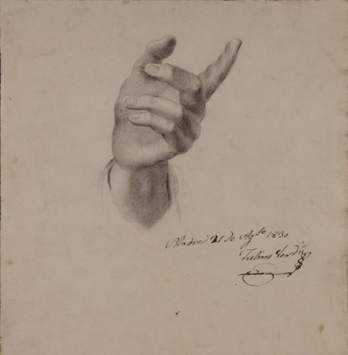 Estudio frontal de la mano derecha con el índice extendido