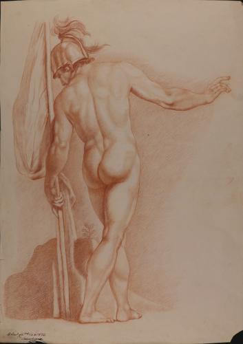 Estudio de modelo masculino desnudo de espaldas con casco y bandera