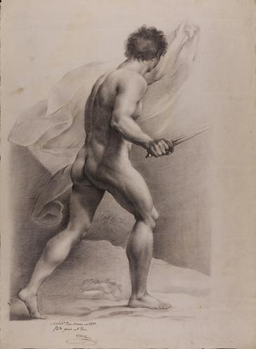 Estudio de modelo masculino desnudo  en actitud de avanzar con espada y paño