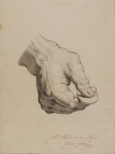Estudio de mano derecha con moneda