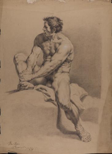 Estudio de cíclope desnudo sentado, sujetándose la pierna derecha con las manos