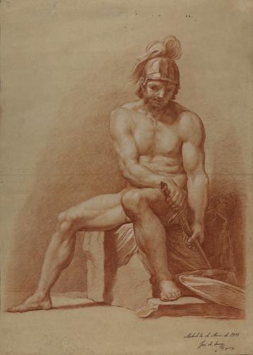 Estudio de modelo masculino desnudo sentado con casco y espada