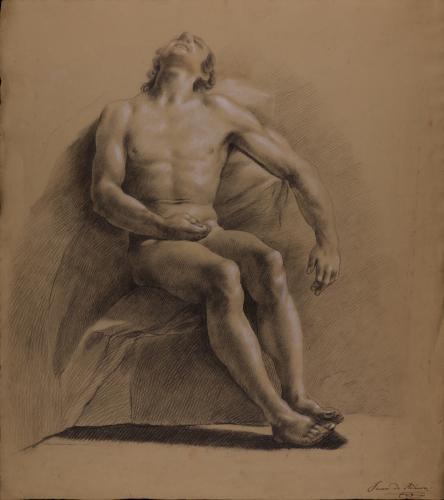 Estudio de modelo masculino desnudo sentado de frente con la cabeza hacia atrás