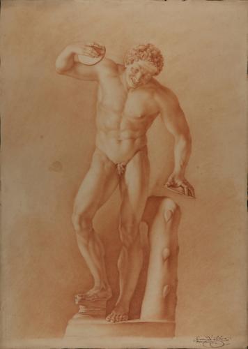 Estudio de la escultura del Sátiro danzante