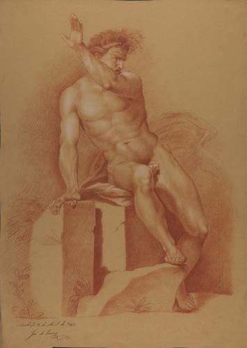 Estudio de modelo masculino desnudo sentado de frente con el brazo izquierdo alzado