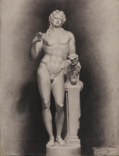 Estudio de escultura de Baco joven con un racimo de uvas en la mano derecha y una copa en la izquierda y un herma
