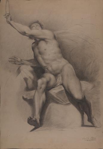 Estudio de modelo masculino desnudo sentado en contraposto