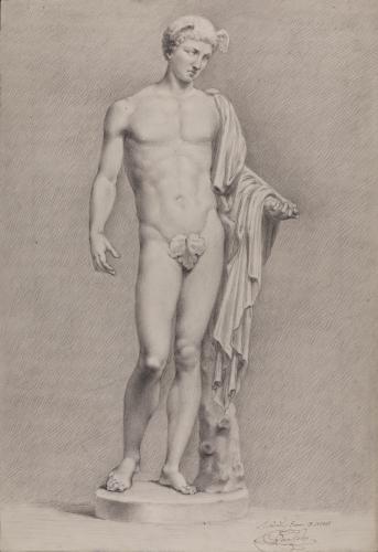 Estudio de la escultura de Mercurio /Hermes del tipo Lansdowne-Berlin-Pitti