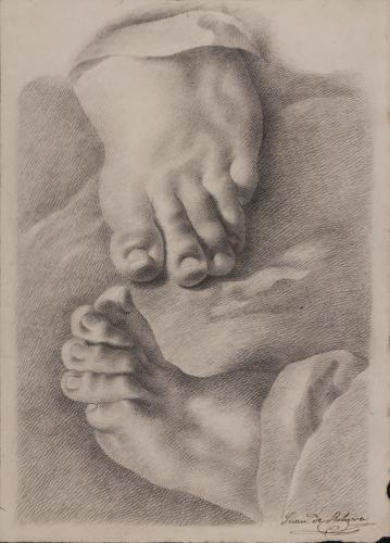Estudio de cenital frontal de la parte delantera de un pie y otro de perfil