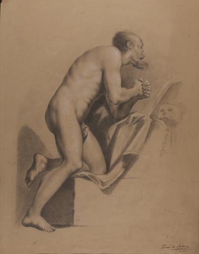 Estudio de modelo masculino desnudo como San Jerónimo penitente