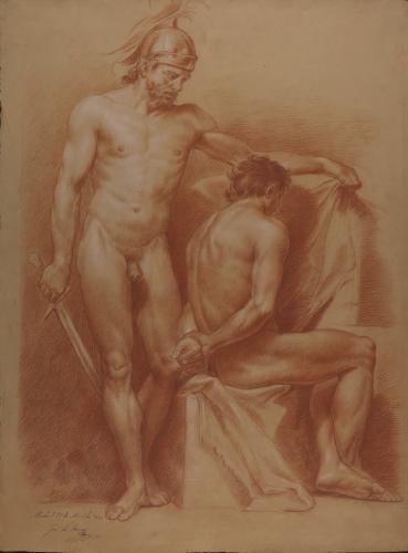 Estudio de modelo masculino desnudo de pie con casco y espada y otro sentado con las manos a la espalda