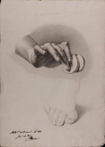 Estudio de mano derecha con monedas y apunte de pie derecho